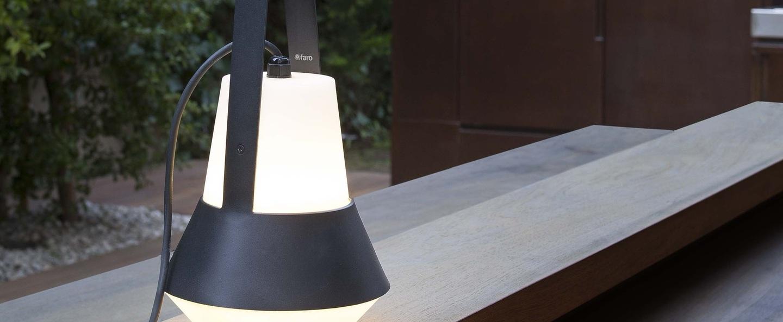 Lampe de jardin baladeuse cat blanc noir h32cm faro normal