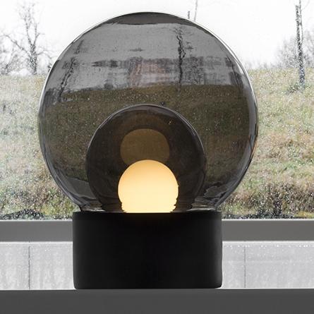 floor light, boule medium, smoke glass, grey, h74cm - pulpo
