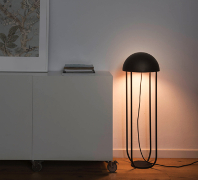 lampe de sol jellyfish noir et or led 29cm h90cm faro luminaires nedgis. Black Bedroom Furniture Sets. Home Design Ideas