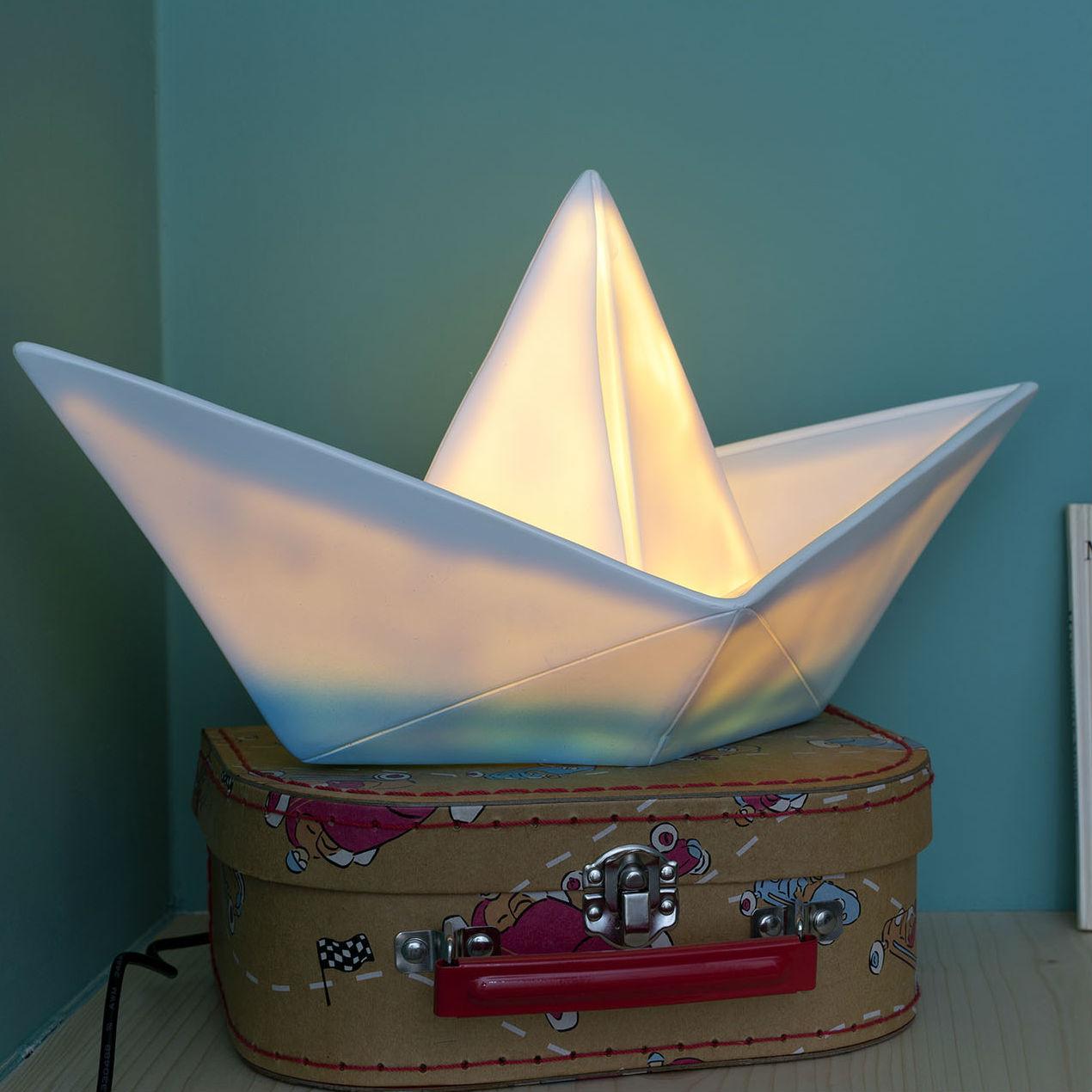 lampe enfant veilleuse bateau blanc bleu l32cm goodnight light luminaires nedgis. Black Bedroom Furniture Sets. Home Design Ideas