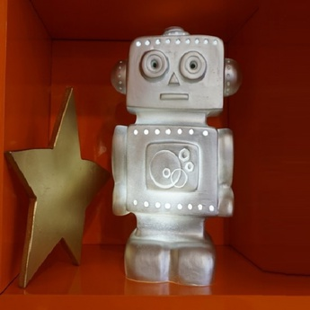 Lampe enfant veilleuse robot argent h33cm egmont toys normal