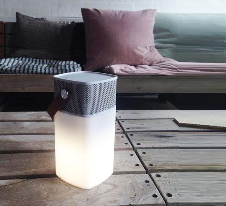 lampe haut parleur sans fil d 39 ext rieur aglow led blanc h19cm kreafunk luminaires nedgis. Black Bedroom Furniture Sets. Home Design Ideas