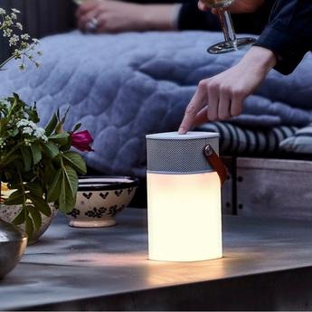 Lampe haut parleur sans fil d exterieur aglow led blanc h19cm kreafunk normal