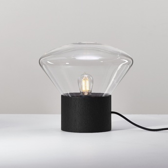 Lampe muffins noir verre transparent h34 5cm o36cm brokis normal