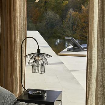 Lampe papillon vide poche noir l42cm h62cm forestier normal