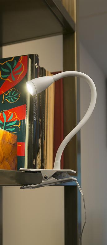 Lampe pince loke blanc 3000k 120lm led o6cm h24cm faro normal