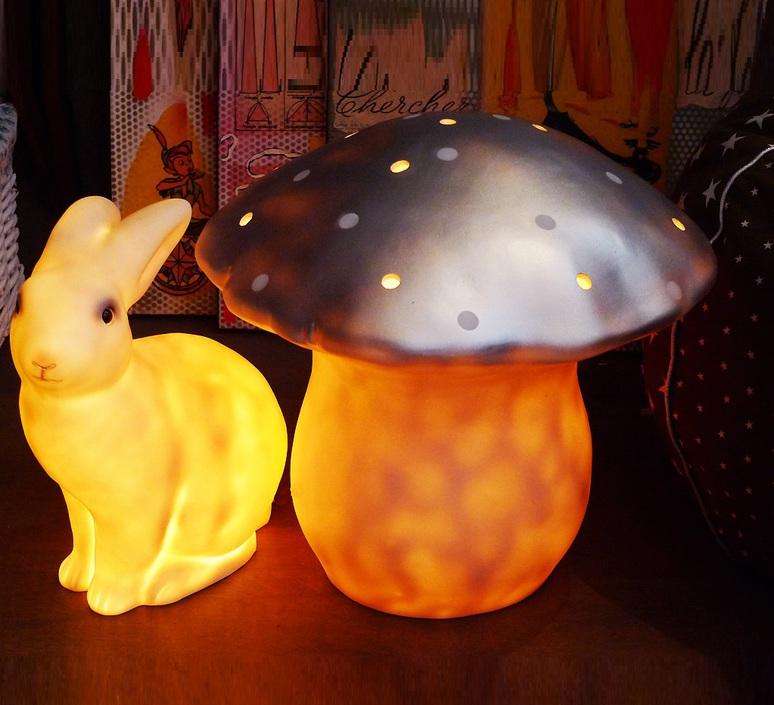 LAMPE, VEILLEUSE, GRAND CHAMPIGNON, ARGENT, Ø29CM - EGMONT-TOYS