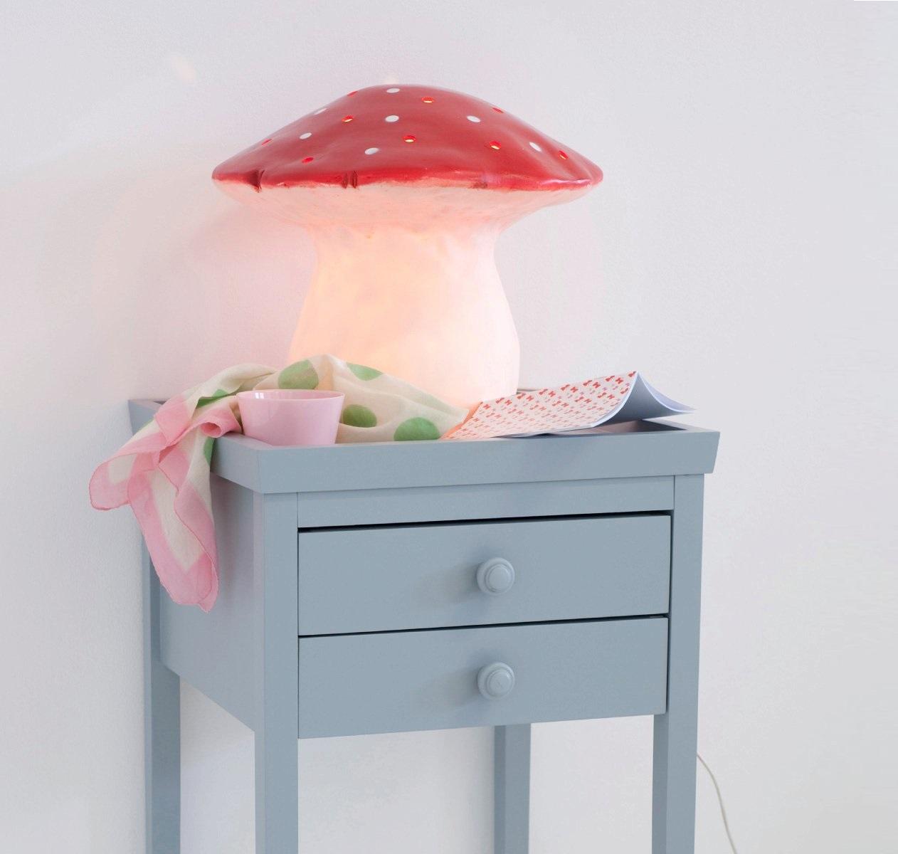 Lampe enfants veilleuse grand champignon rouge 29cm for Grand interieur rouge