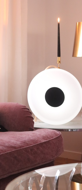 Luminaire connecte eclipse speaker bois blanc led l26 7cm h40cm mooni normal