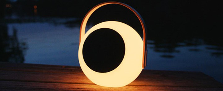 Luminaire connecte eye speaker bois blanc led l23 9cm h28 2cm mooni normal
