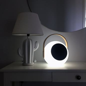 Luminaire connecte eye speaker bois blanc led l23 9cm h28 2cm mooni normal