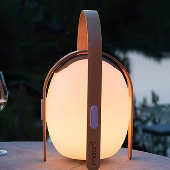 Luminaire connecte ovo mini speaker bois blanc led l23 8cm h39 2cm mooni normal