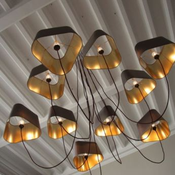 Lustre 10 grand nuage gris or o203cm h180cm designheure normal
