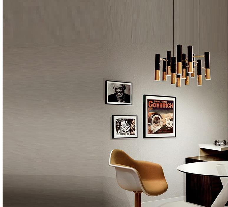 Lustre, 13 abats-jour, IKE, noir et cuivre, H36cm, Ø60cm ...