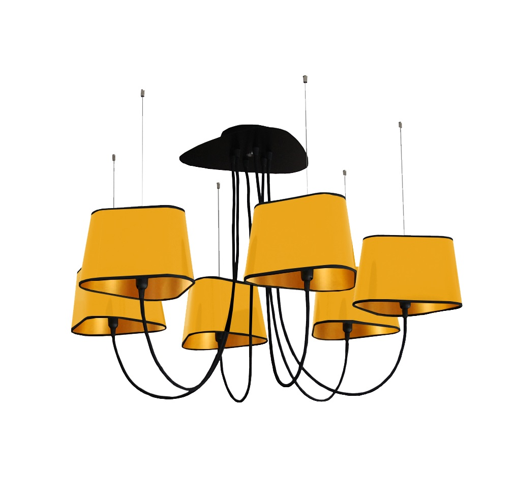 lustre 6 petit nuage jaune et or 94 cm designheure luminaires nedgis. Black Bedroom Furniture Sets. Home Design Ideas