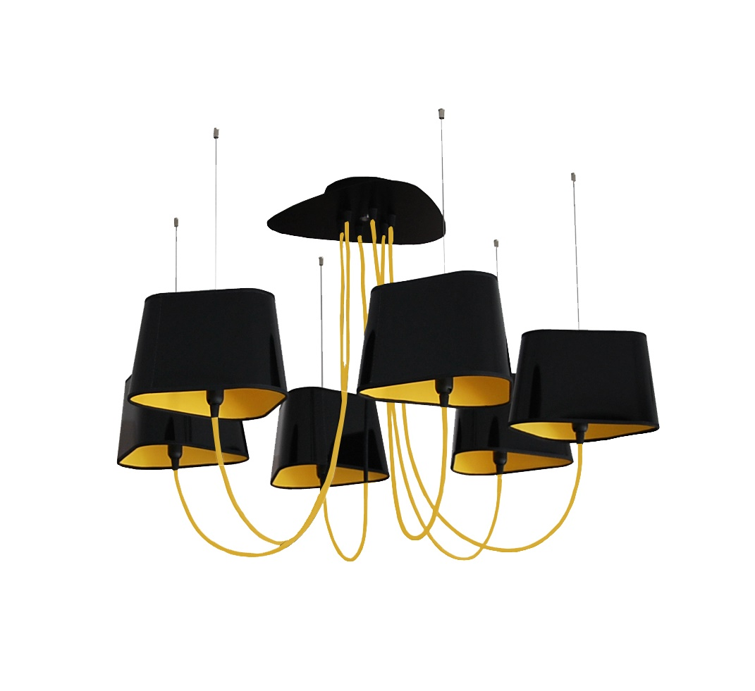 lustre 6 petit nuage noir et jaune 94 cm designheure luminaires nedgis. Black Bedroom Furniture Sets. Home Design Ideas