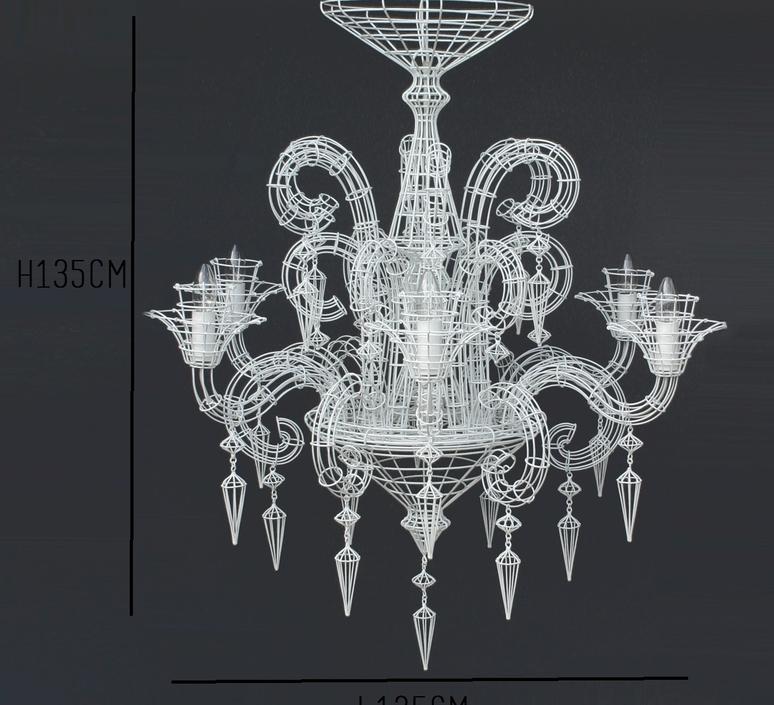 lustre angelus blanc h115cm forestier luminaires nedgis. Black Bedroom Furniture Sets. Home Design Ideas