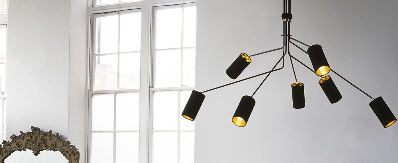 Lustre array cotton noir et laiton l170cm h85cm cto lighting normal