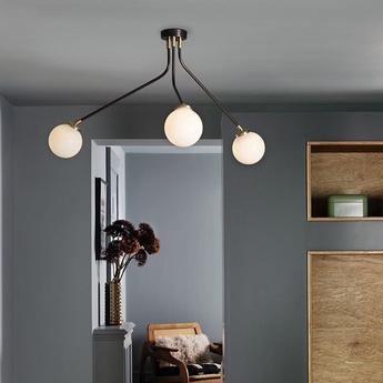 Lustre array mini opal noir et laiton l75cm h42 5cm cto lighting normal