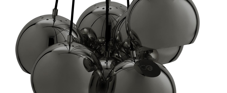 Lustre ball multi chrome noir o18cm h120cm frandsen normal
