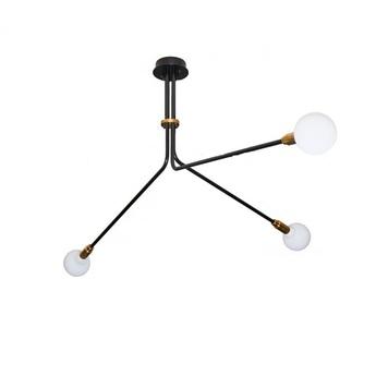 Lustre baronne 3 bras laiton metal noir globe opalin o75cm h42 5cm daniel gallo normal