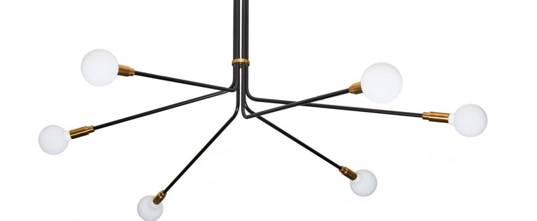 Lustre baronne 6 bras laiton metal noir globe opalin o160cm h100cm daniel gallo normal