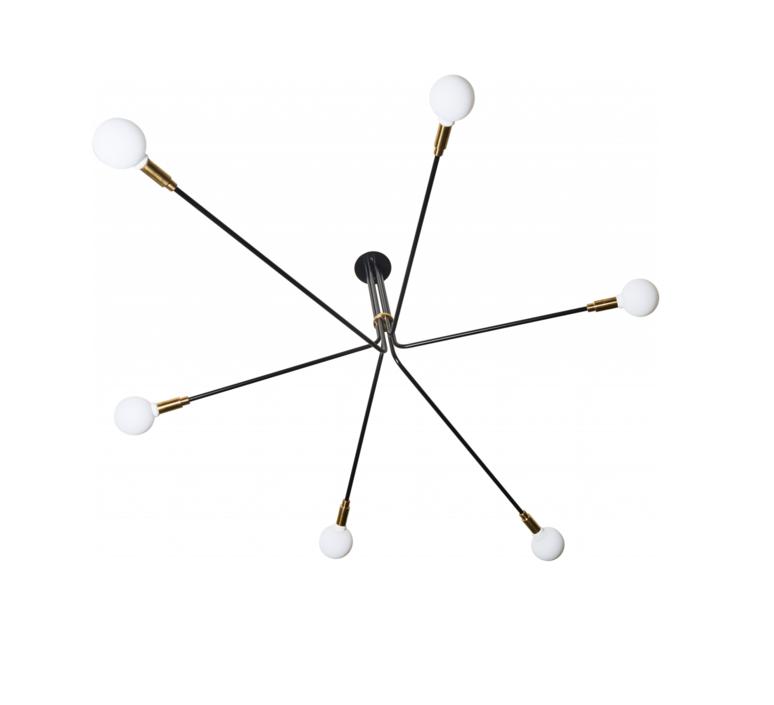 Lustre baronne 6 bras laiton metal noir globe opalin o160cm h100cm daniel gallo 58492 product