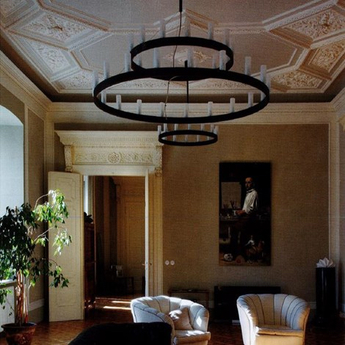 Lustre chandelier double noir o150cm h500cm fontana arte normal
