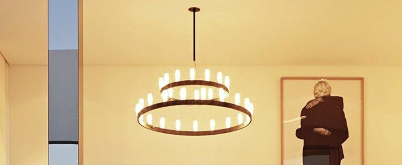 Lustre chandelier double noir o90cm h500cm fontana arte normal