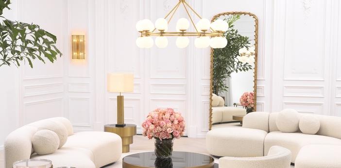 Lustre chandelier hutchinson laiton o115cm h65cm eichholtz normal
