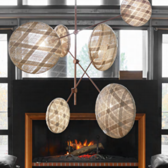 Lustre chanpen copper natural diamond 6 beige h1m20 o80cm forestier normal