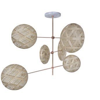 Lustre chanpen copper natural diamond 6 x 52cm beige h1m20 o80cm forestier normal