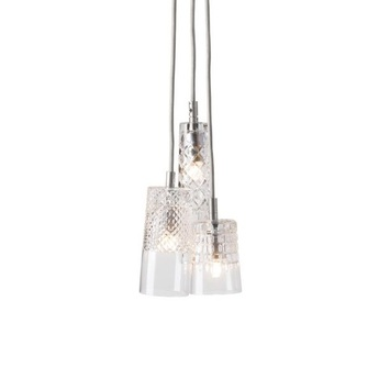 Lustre crystal 3 transparent argent o18 5cm ebb and flow normal