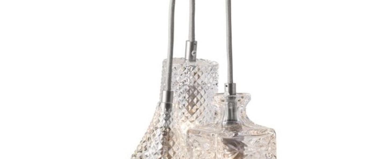 Lustre crystal 3 transparent carre tulipe cylindre argent o18 5cm ebb and flow normal