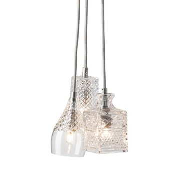 Lustre crystal 3 transparent carre tulipe cylindre argent o18 5cm ebb and flow normal