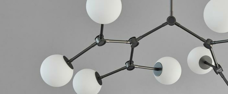 Lustre drop bulb 8 verre opalin et laiton brun oxyde l71cm h85cm 101 copenhagen normal