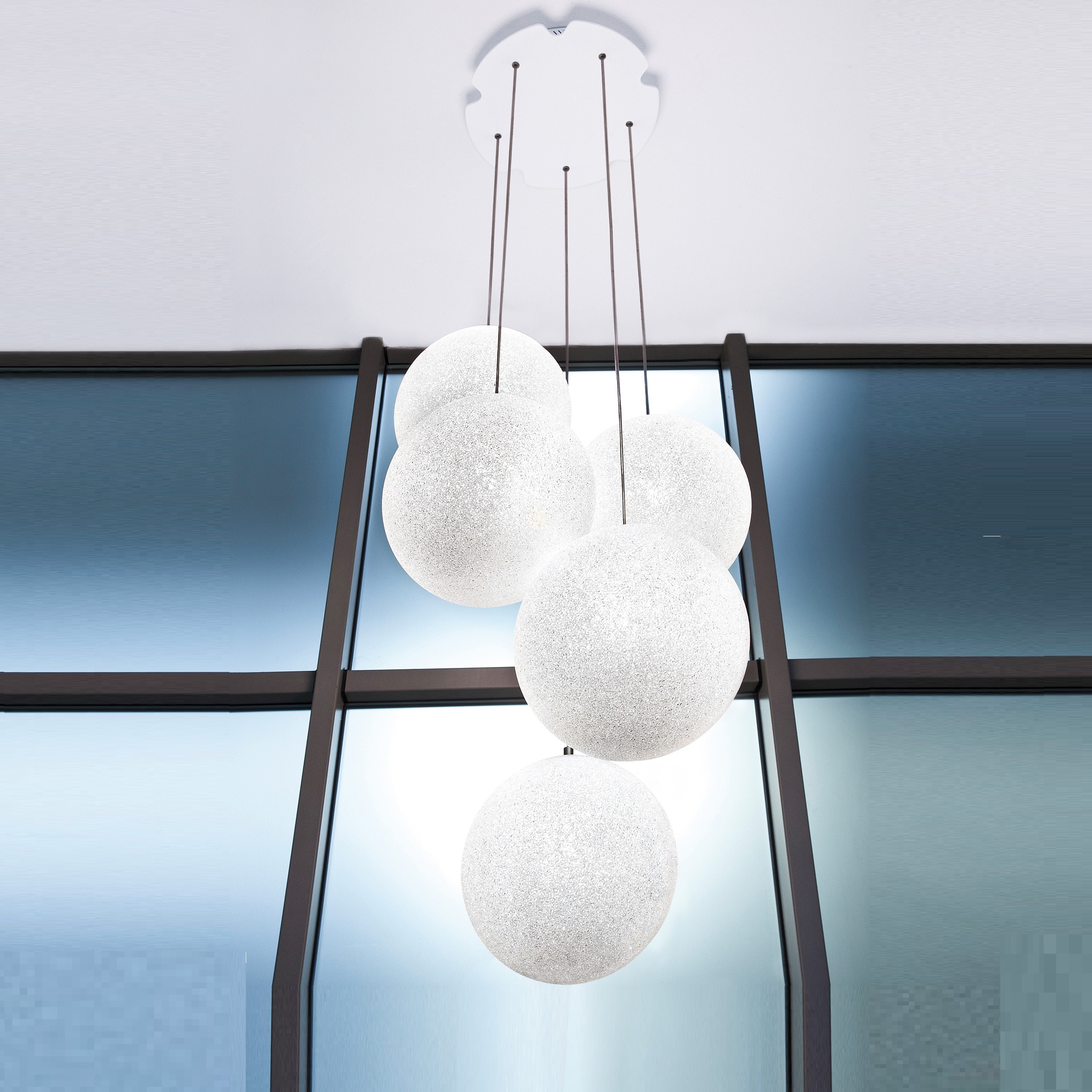 lustre iceglobe blanc brillant h300cm lumen center italia luminaires nedgis. Black Bedroom Furniture Sets. Home Design Ideas