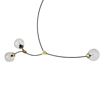 Lustre ivy horizontal 3 verre fume l150cm h60cm cto lighting normal