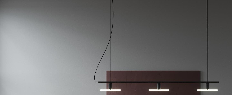 Lustre linear 3 blanc noir l142 5cm h20cm beem normal