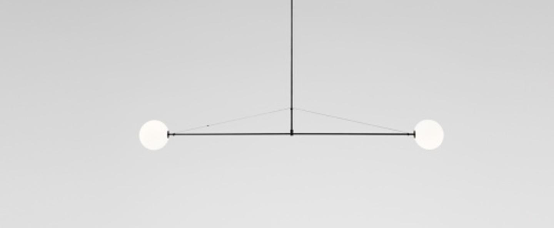 Lustre mobile chandelier 2 noir l180cm h15cm anastassiades studio normal