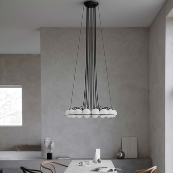 Lustre model 2109 16 20 noir o140cm h160cm astep normal
