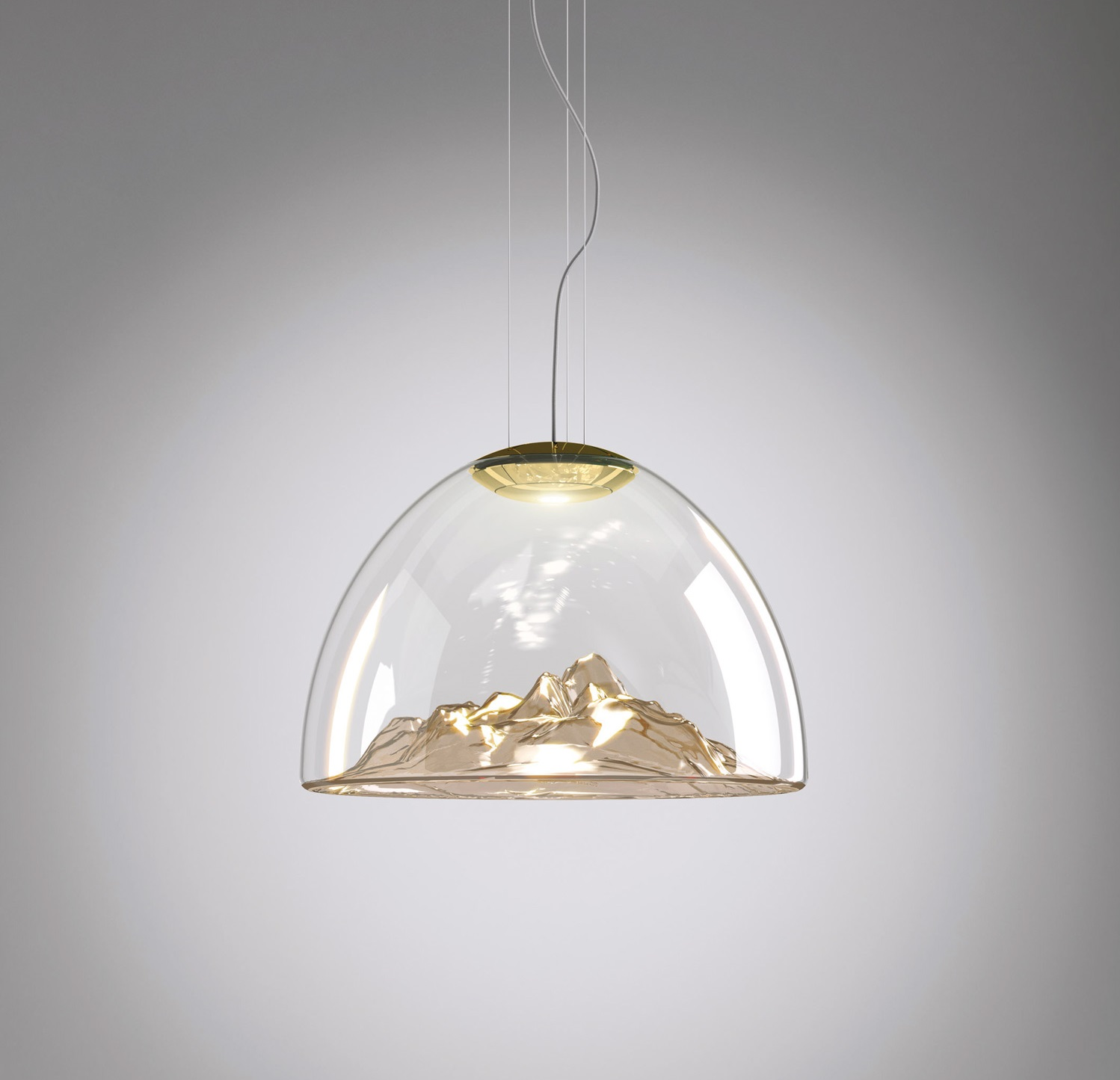 Lustre mountain view cristal ambr or 55cm axo for Lustre 3 suspensions