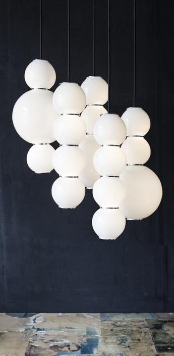 Lustre pearls led 5 abbdd blanc chrome o50cm formagenda normal