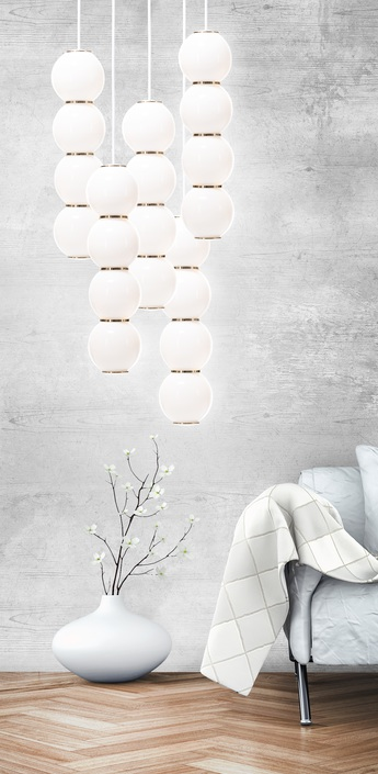 Lustre pearls led 5 bbbbb blanc or o50cm formagenda normal