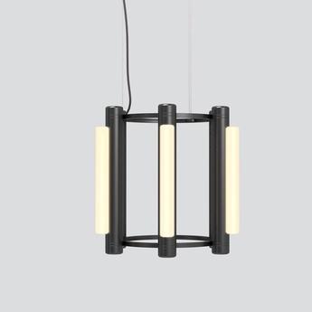 Lustre pipeline chandelier 1 noir led 2700k o47cm h42cm andlight normal