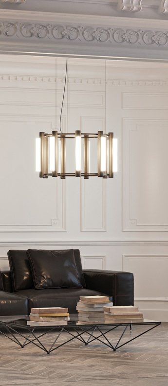Lustre pipeline chandelier 2 noir led 2700k lm o76 5cm h42cm andlight normal