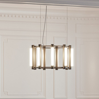 Lustre pipeline chandelier 2 noir led 2700k lm o76 5cm h42cm andlight normal