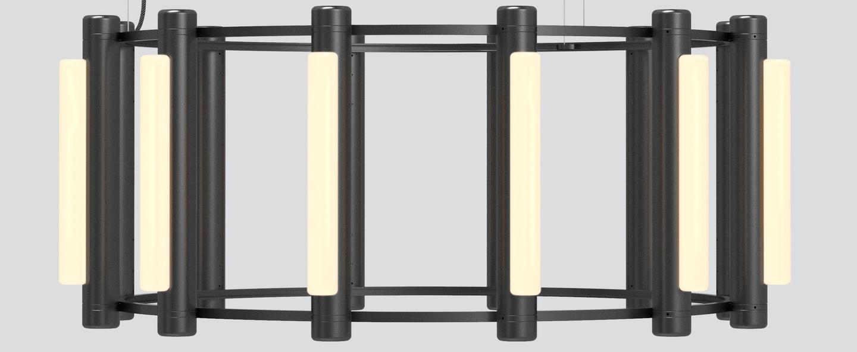 Lustre pipeline chandelier 3 noir led 2700k o102cm h42cm andlight normal