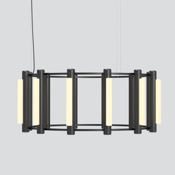 Lustre pipeline chandelier 3 noir led 2700k o102cm h42cm andlight normal