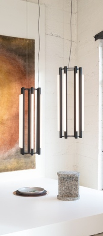 Lustre pipeline chandelier 4 noir led 2700k lm o47cm h125cm andlight normal